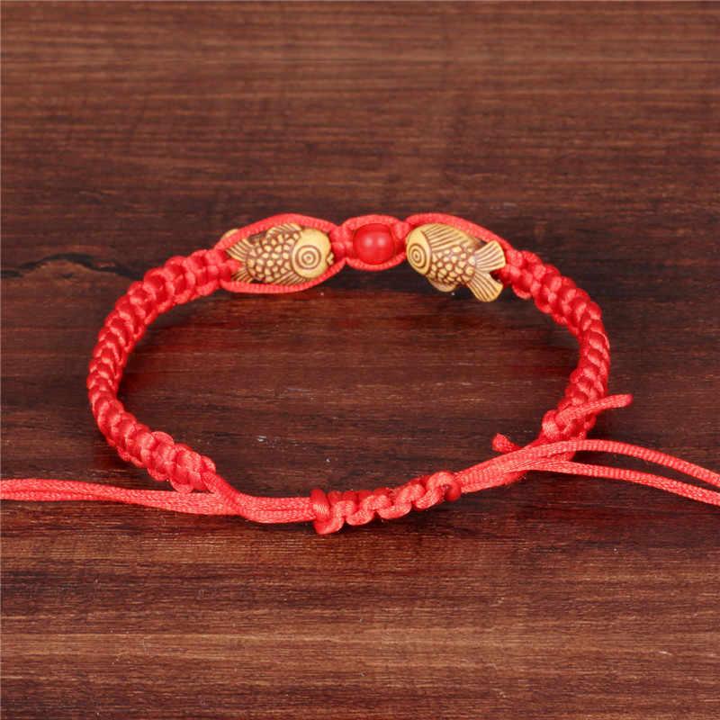NEWBUY moda w stylu chińskim ręcznie czerwona linka podwójne drewno ryby uroku bransoletki dla kobiet mężczyzn najlepszy prezent dla dziecka bransoletka