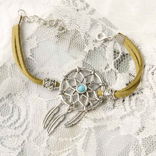 6 Colors Vintage Enchanted Forest Mini Dreamcatcher Bracelet Handmade