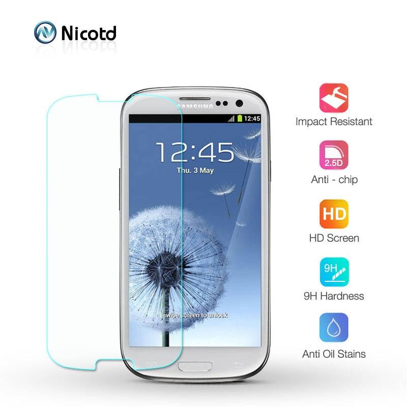 Nicotd Gehärtetem Glas Für Samsung Galaxy S3 S4 S5 S6 S7 A3 A5 J3 2015 2016 Grand Prime Screen Protector HD 2.5D Schutzhülle Film