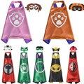 2017 papéis Realizando Máscara + capa superman spiderman crianças capas de super-heróis batman superhero costume ternos para meninos das meninas para a festa