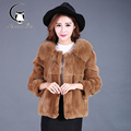 2016 winter new short paragraph Rex Rabbit hair whole leather fox fur collar fur coat lady wear fur
