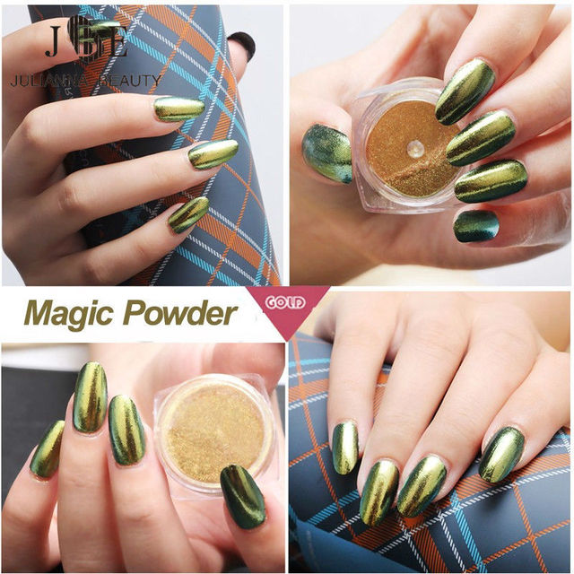 2g Mirror Chrome Powder Nails Pigment Ultrafine Powder 6 Color Nail Powder Magic Glimmer Nail Art Decorations Powder Polish Art