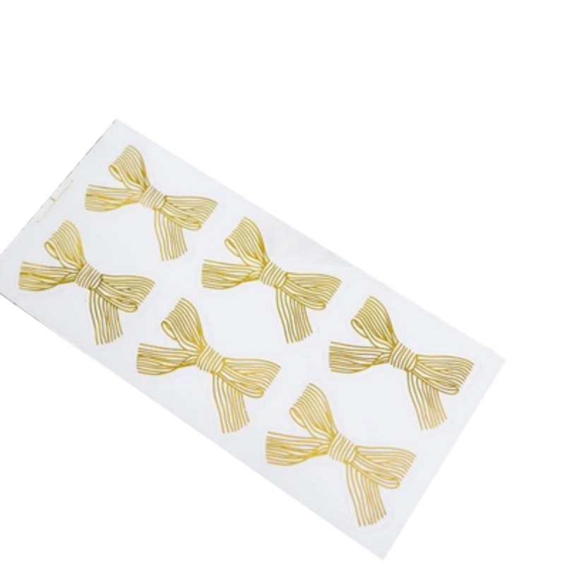 60pcs/lot Golden Big Bow Gold 4.5*3CM Handmade Cake Sweet Candy Packaging Sealing Label Sticker Adhesive Gift Stationery