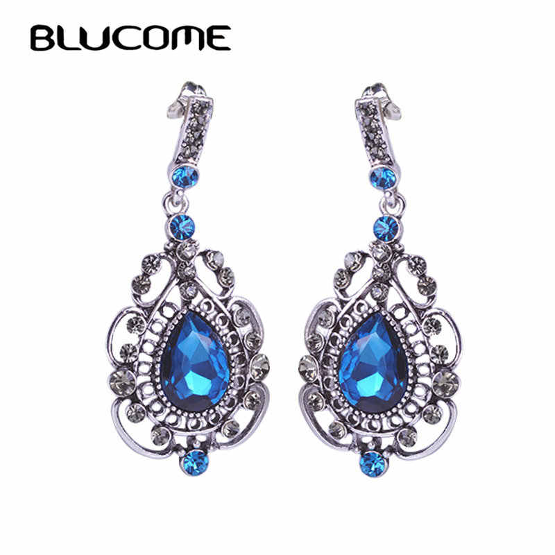 Blucome Vintage Royal Long Blue Earrings Drop Pendientes Max Brincos Bijuterias Turkish Jewelry Bijoux For Bridal Wedding Woman