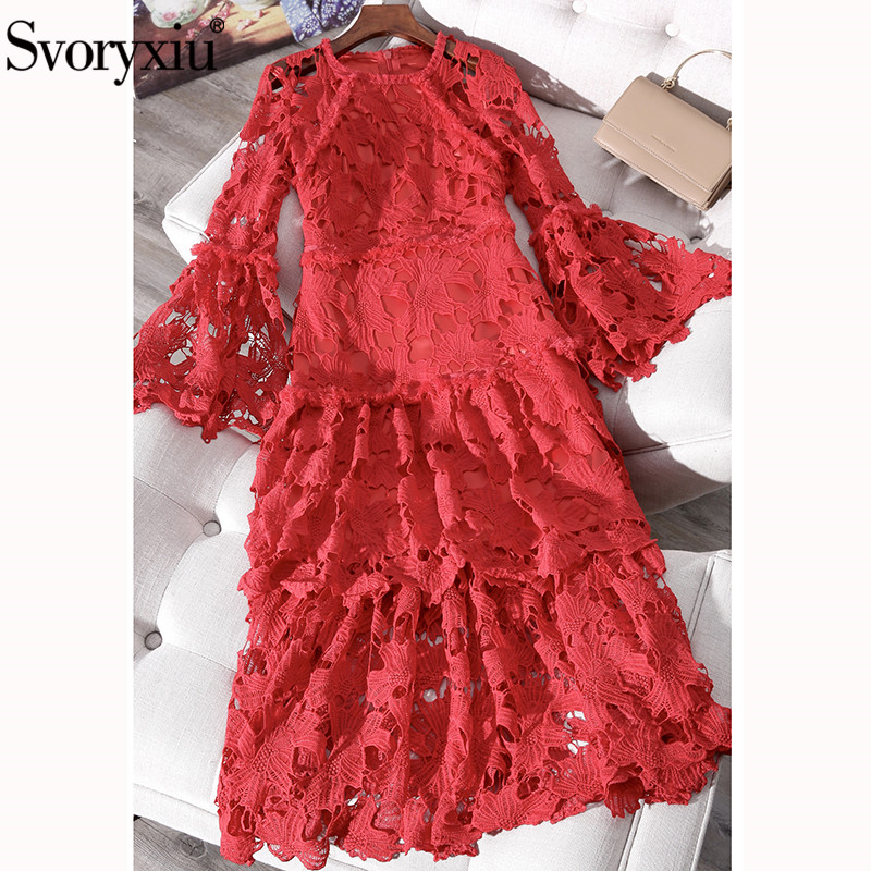 Svoryxiu Sexy Hollow Out Embroidery Red Party Long Dress Women's Elegant Flare Sleeve Designer Brand Lace Dresses Vestdios