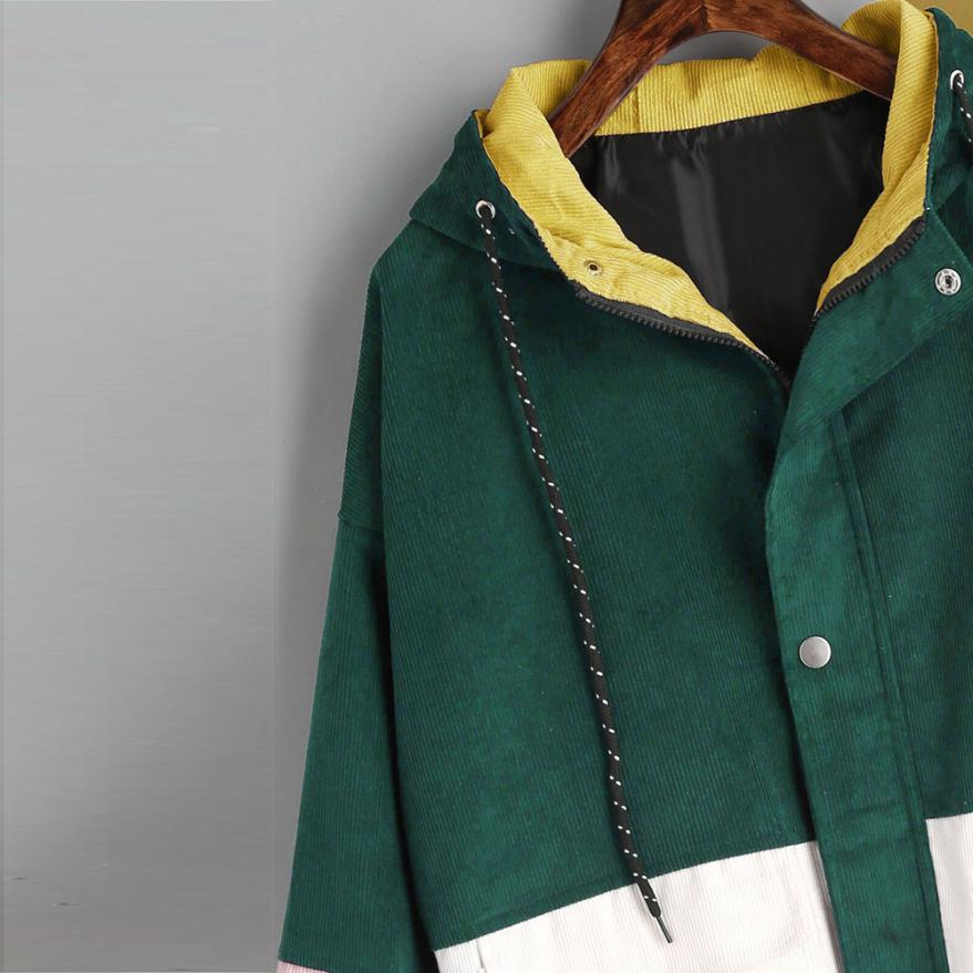 Long Sleeve Corduroy Patchwork Oversize Zipper Jacket Windbreaker coats and jackets women 34