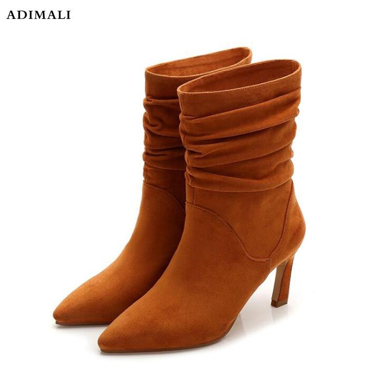 Ondulato in pelle stivali per le Donne Scarpe A Punta Stivali Calza di Piazza Stivali Tacco Alto Scarpe Moda Donna Bota Feminina