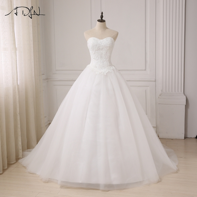 ADLN Robe De Mariage Princess White  Ivory Ball Gown Wedding Dress Plus  Size Sweetheart Lace Applique Vestido De Noiva c48f229e56bb