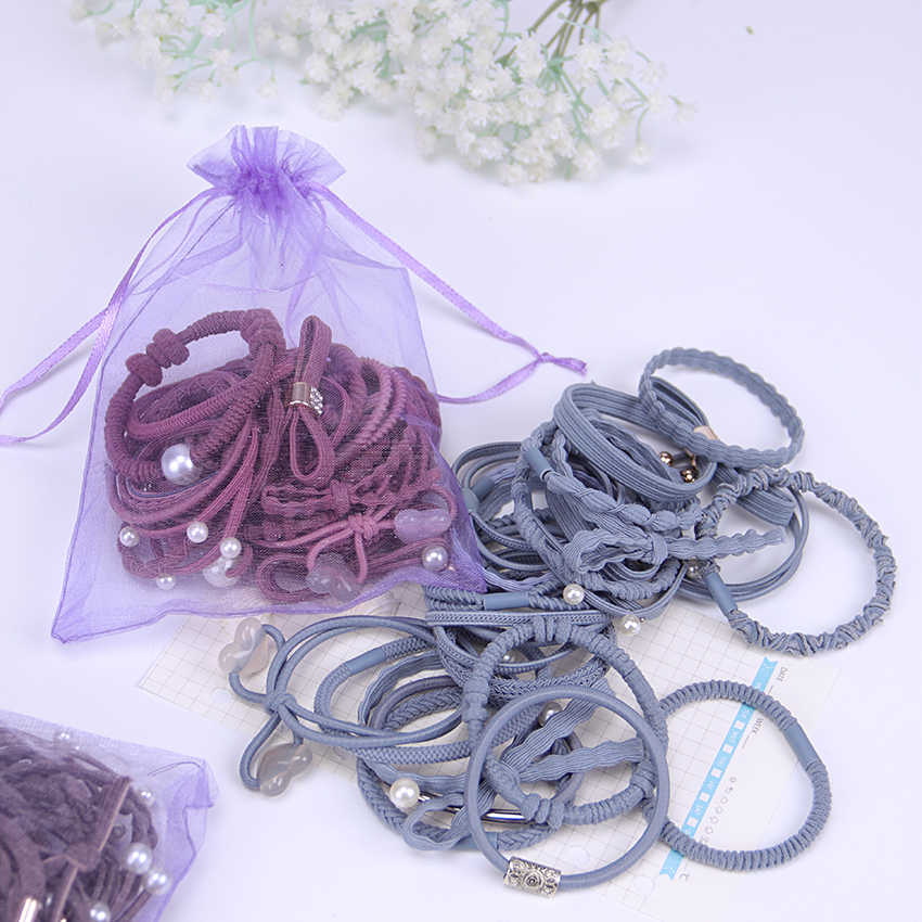 24PCS/Set Bow Hair Ring Fashion Girl Hair Bands  Horsetail Tie Solid Headwear Hair Ropes Accessories