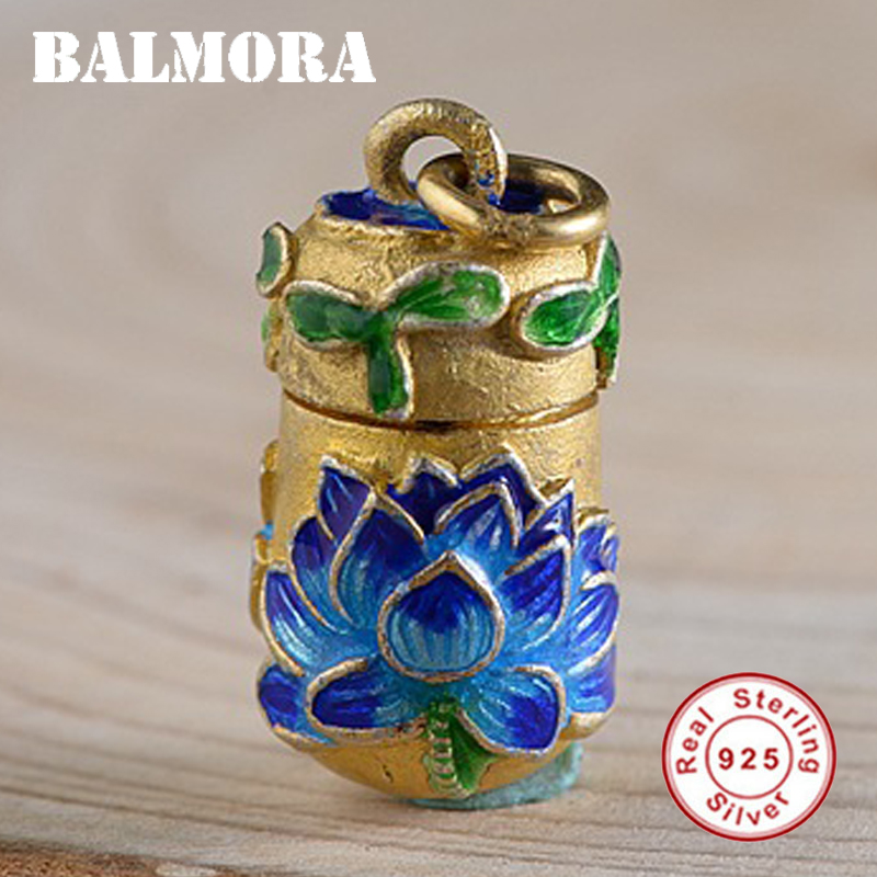 BALMORA 925 Sterling Silver Openable Lotus Bottle Pendants For Women Lover Flower Enamelling Jewelry Without A Chain WBH0153