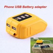 USB Converter Charger For DEWALT 14.4V 18V 20V Li ion Battery Converter DCB090 USB Device Charging Adapter Power Supply