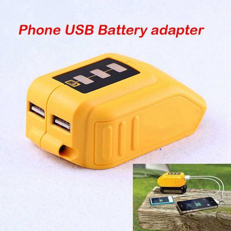 USB Converter Charger For DEWALT 14.4V 18V 20V Li-ion Battery Converter <font><b>DCB090</b></font> USB Device Charging Adapter Power Supply image