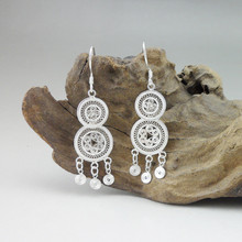 999 Sterling Silver Boho Earrings For Women Accessories Earings Fashion Jewelry Female Handmade Luxury Chinese Minority