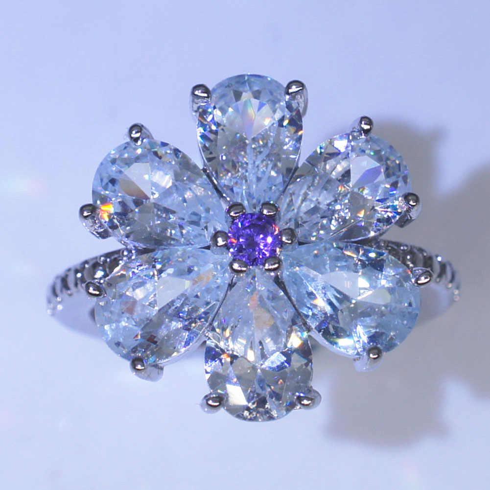 เครื่องประดับเจ้าหญิงสร้างสีฟ้าไพลินแหวนหมั้นสำหรับผู้หญิงเครื่องประดับ