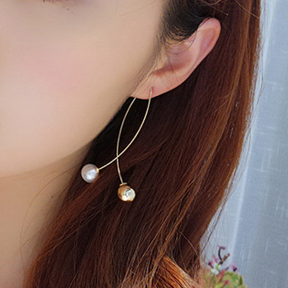Simple Cross Intersection Pearl Ball Drop Earrings Gold Silver Color Dangle Earrings For Women Wedding Jewelry Gift #278661