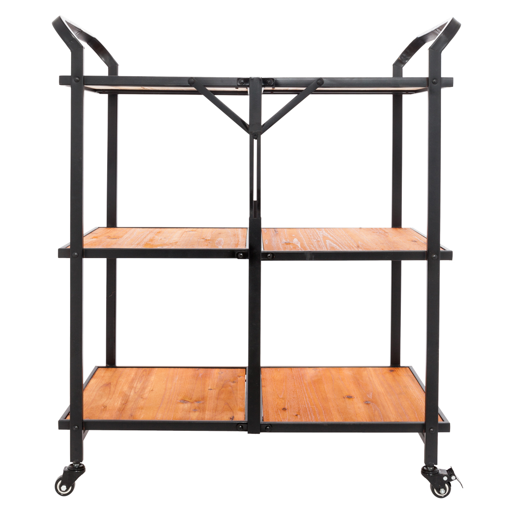 Iron & Wood Foldable Multi-function Dining Cart Rolling Trolley with Wheels 3 Tiers Storage Trolley Kitchen Microwave Stand
