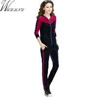 Wmwmnu 2017 Women Suit Women Patchwork Sportswear Autumn New Casual M 7XL Women Sets Gold Velvet
