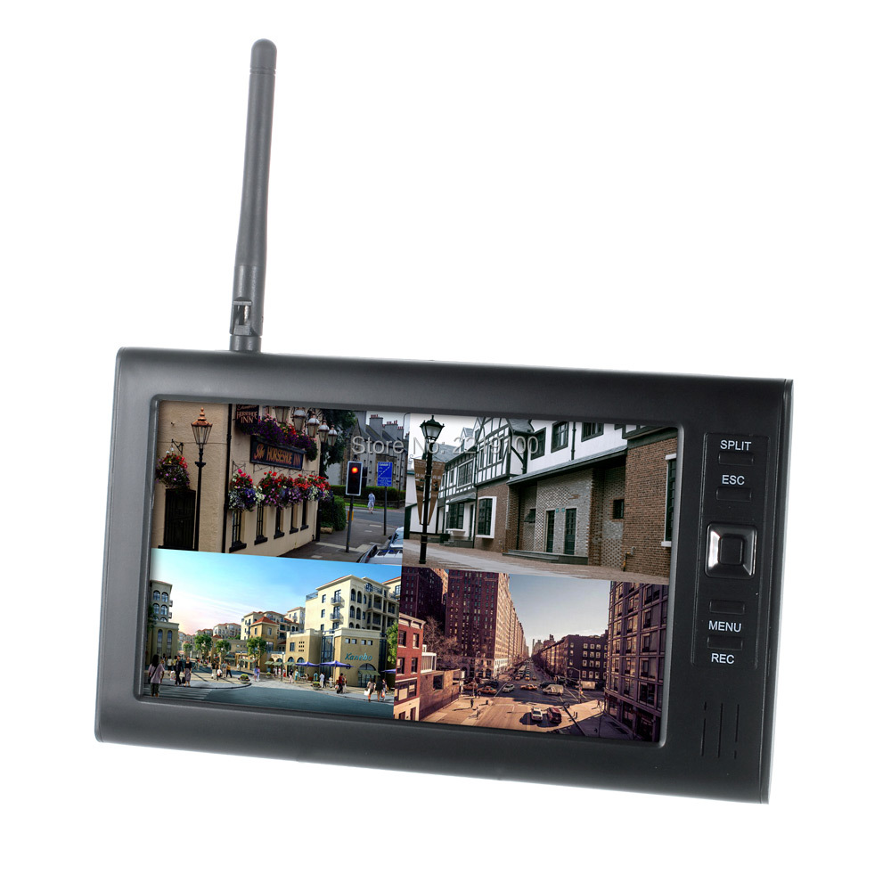"Wireless Surveillance 2.4G 4CH QUAD DVR Security CCTV Camera System Digital Wireless Kit Baby Monitor 7"" TFT LCD screen Monitor 21"