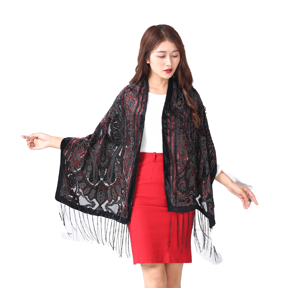 88e25f6e3d3a New Fashion Spain Silver Queen Crown Winter Shawl Women Burnout Velvet  Scarves Pashmina Holiday Gift For