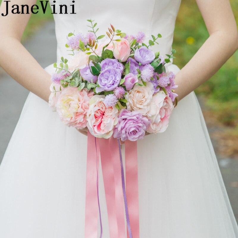 JaneVini nouveau Rose violet Bouquets de mariée Rose pivoine mariée Mariage Bouquet fleurs artificielles porteurs ruban Accessoires Mariage