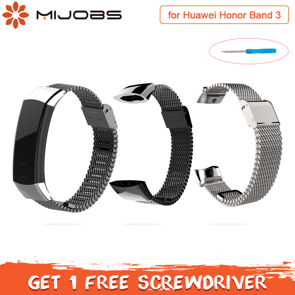 Mijobs Bracelet En Métal pour Huawei Honor Bande 3 Sangle Montre Bande En Acier Inoxydable Bracelet pour Huawei Honor Bande 3 Smart accessoires