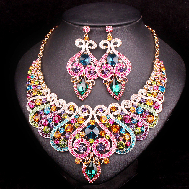 Fashion Indian Bridal Jewelry Sets Wedding Necklace Earring set For Brides bridesmaid Party Accessories Crystal Decoration women