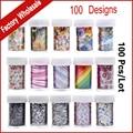 100 Diseños (100 unids) Transferencia Art Nail Foil Pegatina de Dibujos Animados Flor Nail Láminas Decals Polacos, de Uñas Con Estilo Herramientas de decoración