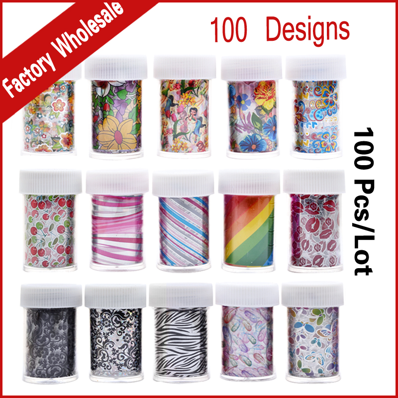 100Designs (100pcs) Nail Art Transfer Foil Sticker Flower Cartoon Nail Foils Polish Decals,Stylish Nail Decoration Tools 233 style new 8 pcs lot flower nail decals leopard nail art transfer foil sticker tips decoration christmas snow nails