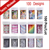 Wholesale Newest 50Designs Nail Art Transfer Foil Stickers Decals 4cmX120cm 100pcs Lot Flower Animal Print DIY
