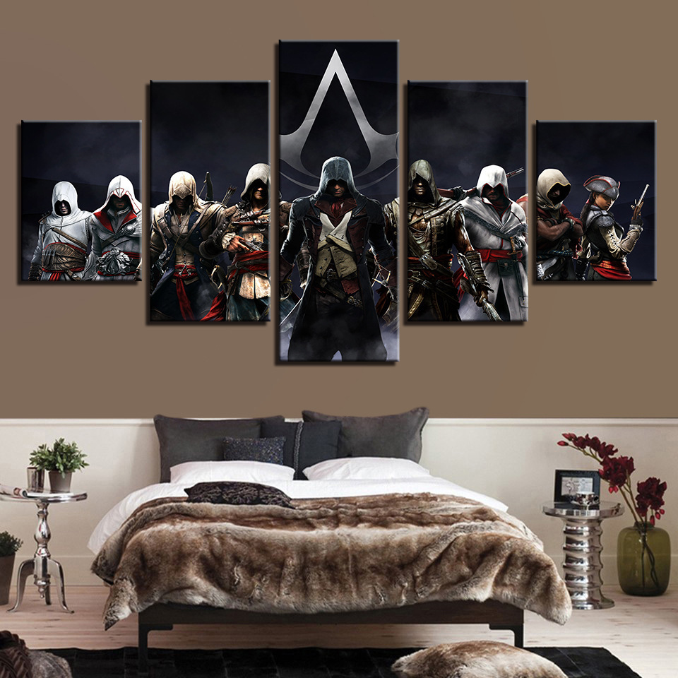 Canvas Paintings Assassins Creed Multiple Connor War 3 Wall Art Framework Home Decor 5 Pieces Print Decorative Picture Room
