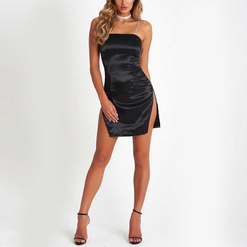 b1d45fbaca7 ... Sexy Women Black Red White Spaghetti straps Slip Dress Satin Short Mini  Split Dress Clubwear ...