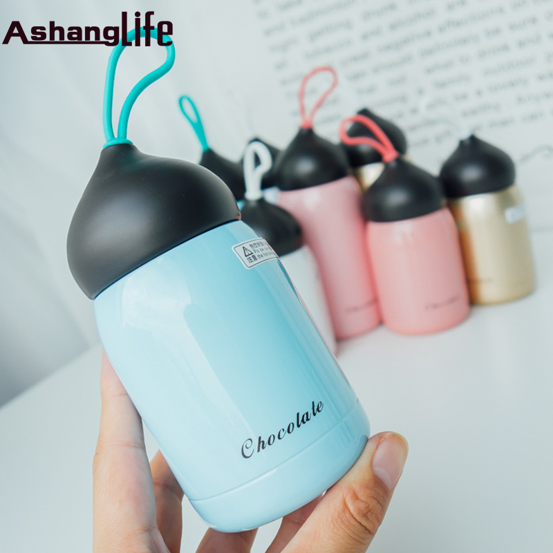 Cute Mini Thermos Cup chocolate Style Lovely Stainless Steel Mug Portable Travel Vacuum Cup Gift for Kids 300ml