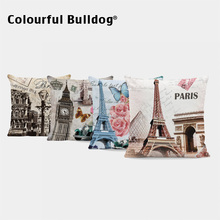 Vintage Building Cushion funda de almohada Big Ben Paris flores Throw Pillow sello Londres coches soldados 43cm noria cojín para rueda cubierta