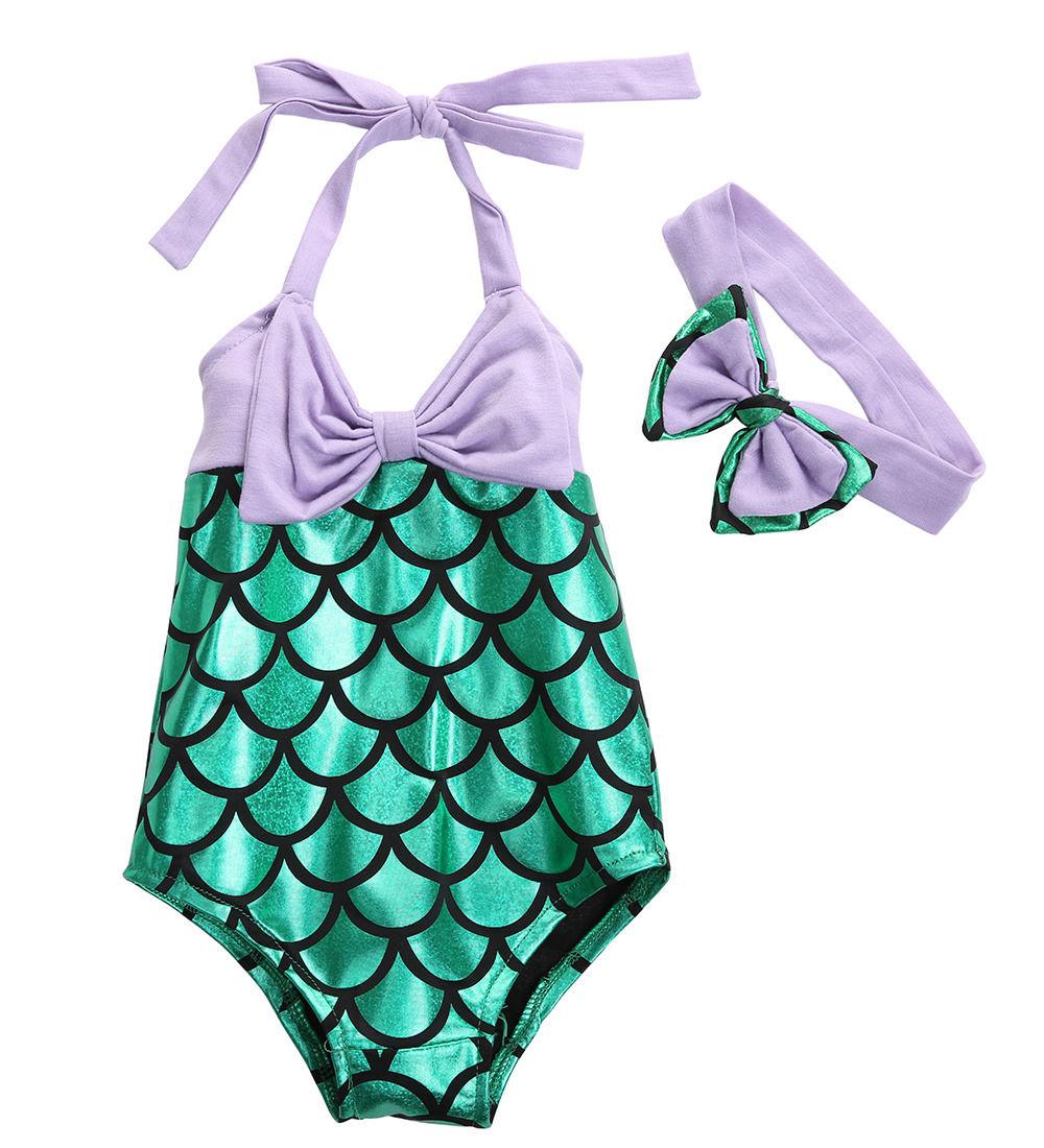Bow Mermaid Kids Girls Toddler Swimwear Bikini Set Bodysuit Purple Green Swimsuit Bathing Summer Cute Costume SS(China)