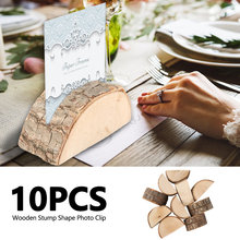 10pcs Wooden Stump Wedding Party Reception Place Card Holder Stand Number Name Table Menu Picture Photo Clip Card Holder(China)