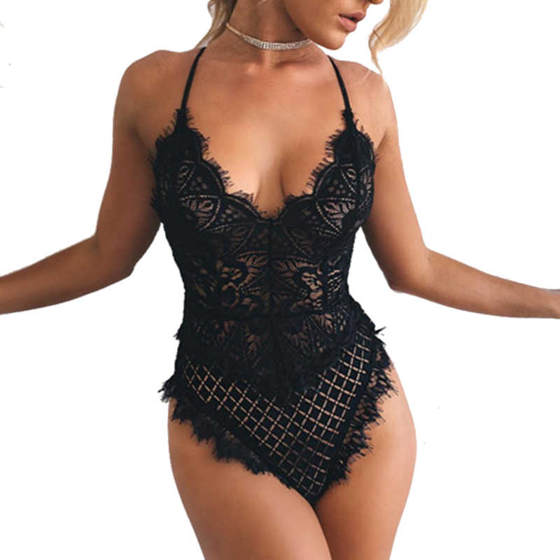 51483eac028 2019 Sexy Deep V Solid Lace Bikini Beach Swimsuit High Cut Women Black Thong  Swimwear Baywatch