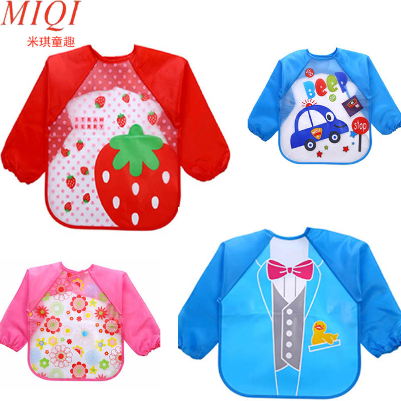 2018 Baby Bibs Infant Burp Cloths Toddler Scarf Feeding Smock Long Sleeve Waterproof Coverall  Animals Baby Feeding Accessories(China)