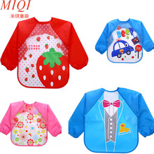 2017Hot New Children Bib Burp Baby Todders Waterproof Long Sleeve Art Smock Bibs Apron Cartoon Soft Feeding baberos bavoir cloth