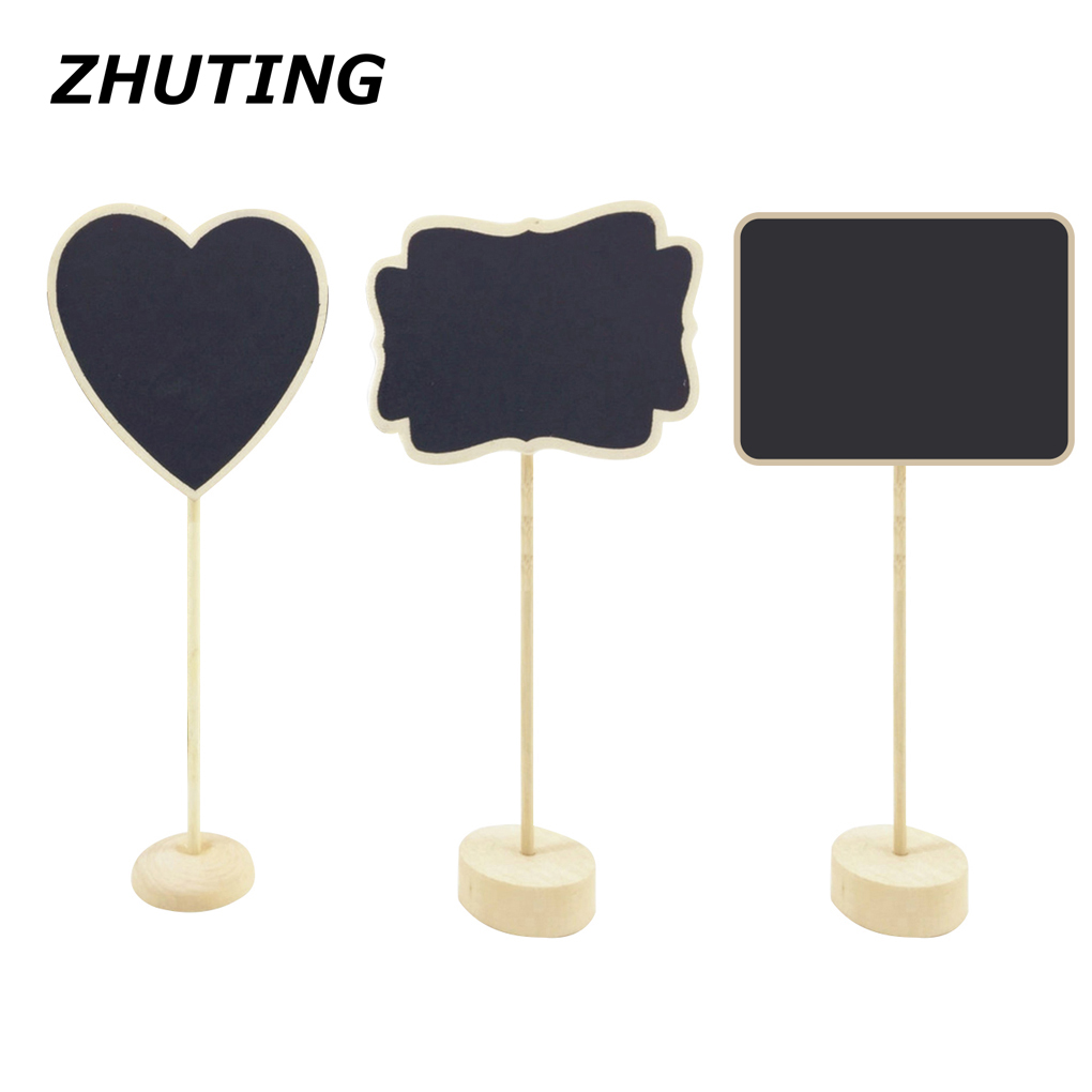 10pcs Tabletop Mini Freestanding Wooden Blackboard Display Chalkboard Sign Message Board