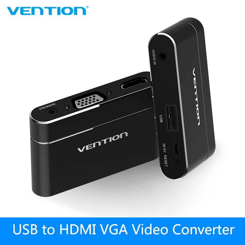Vention 3 in 1 USB Audio Adapter USB to HDMI VGA Audio Video Converter For iPhone 8 Digital HD AV Adapter for Samsung for iPad micro usb to hdmi adapter for tv monitor 1080p hd audio cable and hdmi video converter for samsung huawei htc mhl device