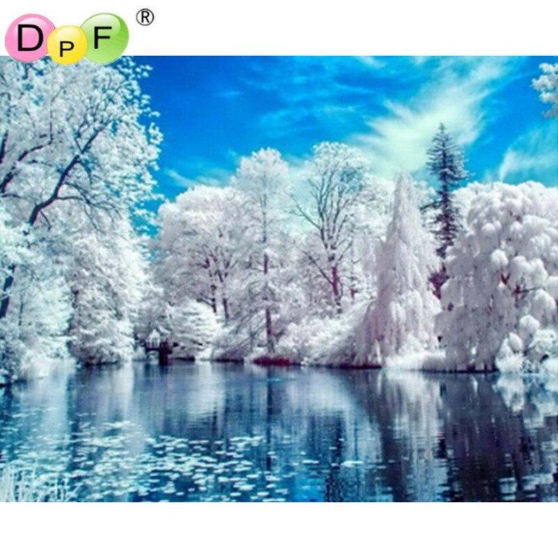 Hantverk Vacker Natur Snö Vinterlandskap Diy Diamantmålning - Konst, hantverk och sömnad