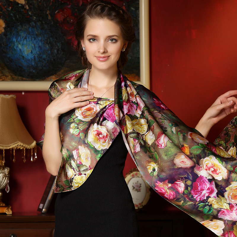 Women Winter Long Scarf Shawl Spring Autumn Female Genuine Silk Szalik Wydrukowano lato 100% Mulberry Silk Beach Cover-up 2017