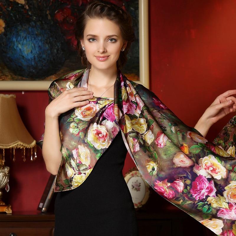 Sieviešu ziemas garā šalle pavasara rudens sieviešu oriģinālās zīda šalles drukātā vasarā 100% Mulberry Silk Beach Cover-2017