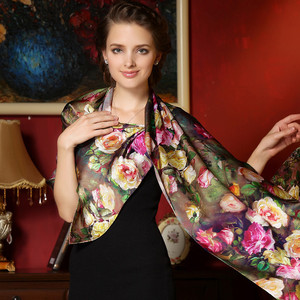 Image 1 - Women Winter Long Scarf Shawl Spring Autumn Female Genuine Silk Scarves Printed Summer 100% Mulberry Silk Beach Cover ups 2017
