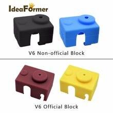 Meia de impressora de silicone para 3d, meia de suporte para impressora 3d v6 pt100 original j-head com capuz 1.75/3.0mm, aquecido, 1 peça extrusora de bloco para impressora 3d