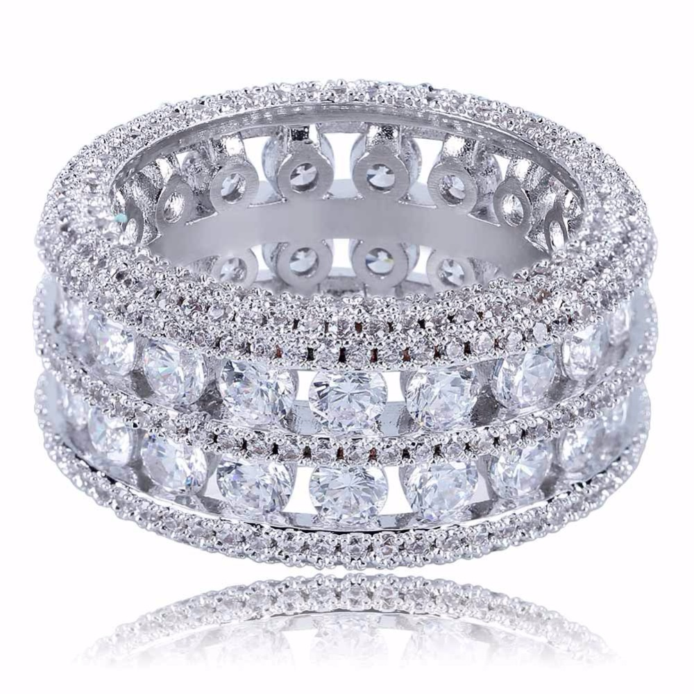 цена Hip Hop Bling Ice Out 2 Rows CZ Stone Party Rings Gold Silver Color Brass Rings for Men Women Jewelry Size 7-11 Drop Shipping