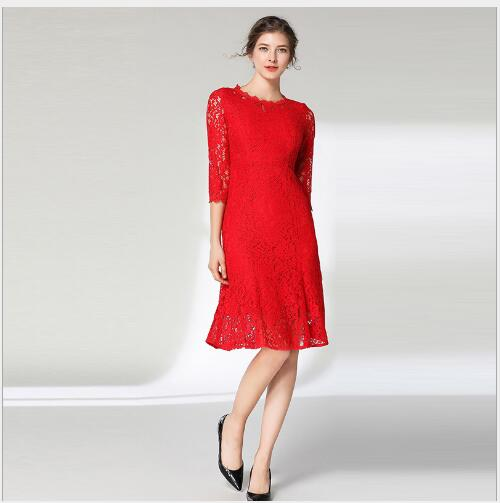 Women Dress 2019 New Spring O-Neck Long Sleeve Mermaid Dress Lady Outwear Fashion Casual Slim Fit Solid Lace High Quality Dress