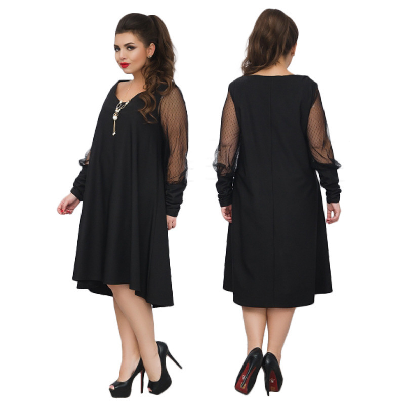 Detail Feedback Questions about Big Size 6XL 2018 Spring Summer Women Dress  Loose Solid Mesh Sleeves Patchwork Dresses Plus Size Fat MM Women Clothing  on ... a309626b590d
