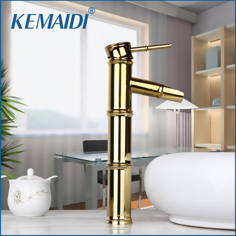 KEMAIDI Bathroom Faucet Tall Bamboo Waterfall Spout Golden Polished Deck Mounted Style Bathroom Mixer Tap Basin Sink FaucetsKEMAIDI Bathroom Faucet Tall Bamboo Waterfall Spout Golden Polished Deck Mounted Style Bathroom Mixer Tap Basin Sink Faucets