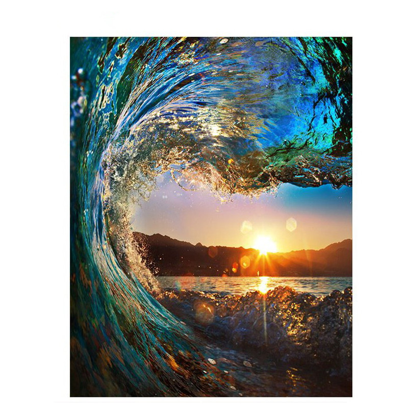 Christmas Gift Wave Sunset Landscape Oil Painting Hand Painted on Canvas for Living Room Wall Decor Vertical No Framed